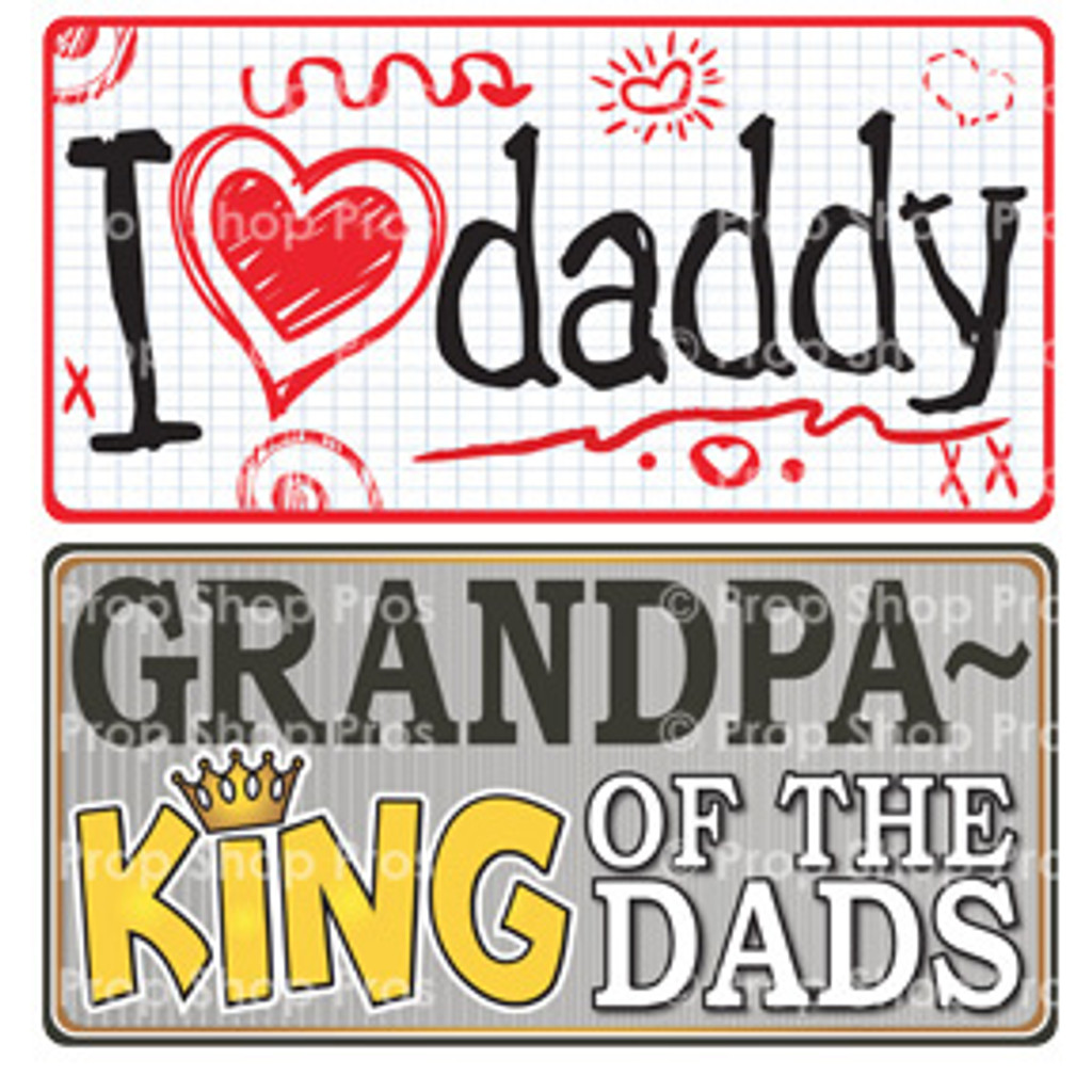 Prop Shop Pros Fathers Day Photo Booth Props I Heart Daddy & Grandpa King Of The Dads