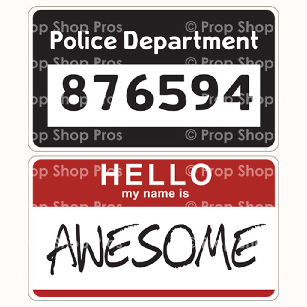 Photo Booth Props Police Department & Hello My Name Is Awesome