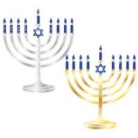 Prop Shop Pros Hanukkah Photo Booth Props Silver & Gold Menorah