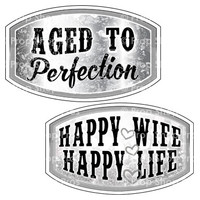 Prop Shop Pros Anniversary Photo Booth Props Aged To Perfection & Happy Wife Happy Life