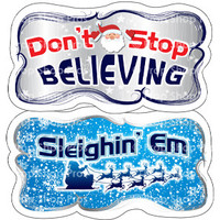 Prop Shop Pros Christmas Photo Booth Props Don't Stop Believing & Sleighin Em