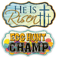 Prop Shop Pros Easter Photo Booth Props He Is Risen & Egg Hunt Champ