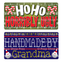 Prop Shop Pros Ugly Sweater Photo Booth Props Ho Ho Horribly Ugly & Handmade By Grandma