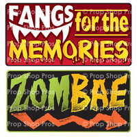Prop Shop Pros Halloween Photo Booth Props Fangs For The Memories & Zombae