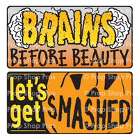 Prop Shop Pros Halloween Photo Booth Props Brains Before Beauty & Let's Get Smashed