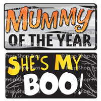 Prop Shop Pros Halloween Photo Booth Props Mummy Of The Year & She's My Boo