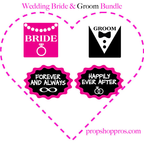 Prop Shop Pros Wedding Photo Booth Props Bride & Grom