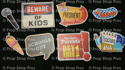 School Signs | Photo Booth Props | Prop Signs