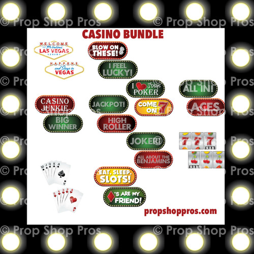 Casino Signs | Vegas Signs | (Partial Bundle)(Nine Signs) 9 Of 10 Signs B-STOCK | Photo Booth Props | Prop Signs