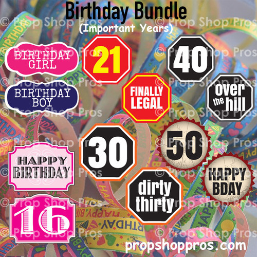 Birthday Signs | B-STOCK | Photo Booth Props | Prop Signs