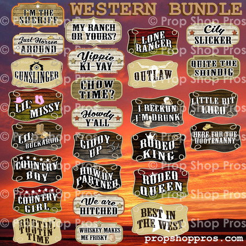 Western Signs | B-STOCK | Photo Booth Props | Prop Signs