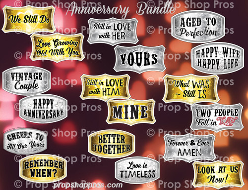Anniversary Signs | B-STOCK | Photo Booth Props | Prop Signs