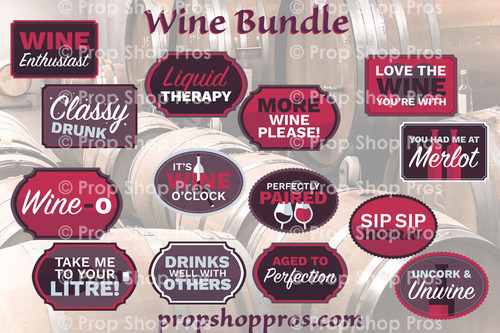 Wine Signs | B-STOCK | Photo Booth Props | Prop Signs
