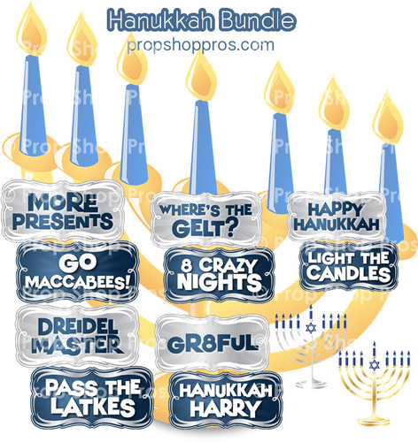 Hanukkah Signs   B-STOCK   Photo Booth Props   Prop Signs