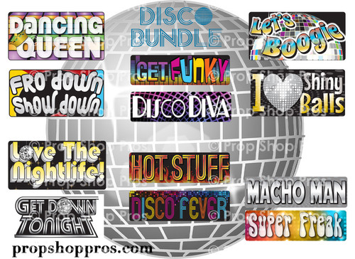 Disco Signs | 70's Signs | Photo Booth Props | Prop Signs