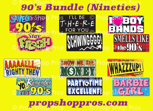 90's Nineties Signs | B-STOCK | Photo Booth Props | Prop Signs