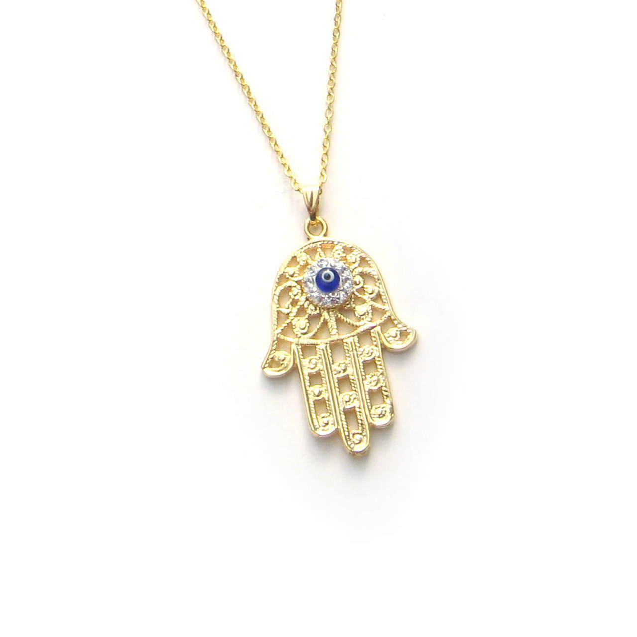 Hammered Gold Plated Evil Eye Pendant Necklace