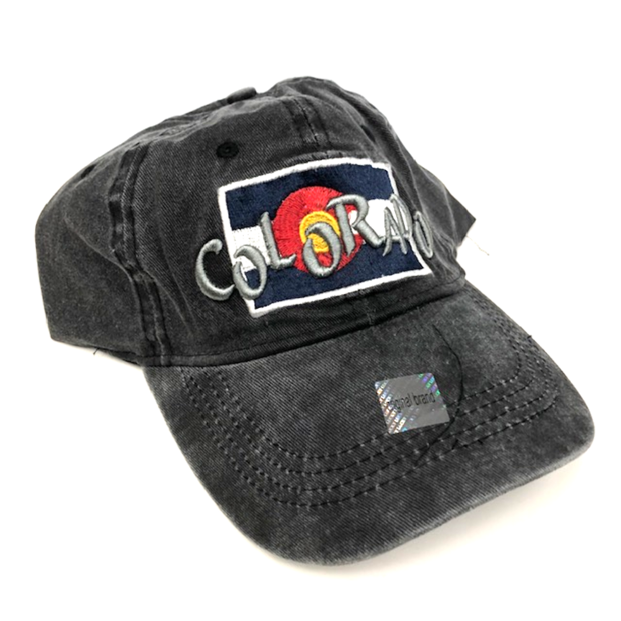 b0e9ddf5d Colorado Flag w/ Funky Colorado Adjustable Flat Brim Baseball Hat (BLACK)