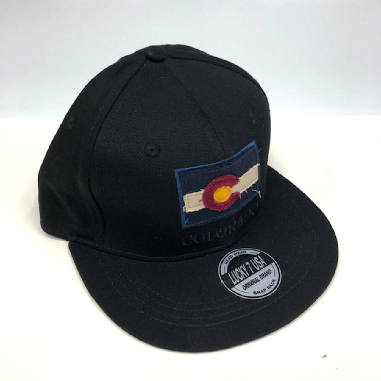 6863017b1 Colorado Flag Adjustable Flat Brim Baseball Hat (BLACK)
