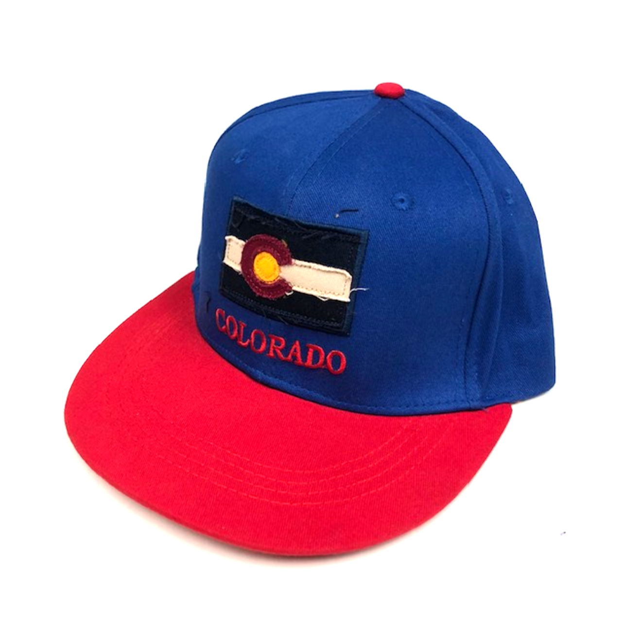 5889717ec Colorado Flag Adjustable Flat Brim Baseball Hat (BLUE & RED)