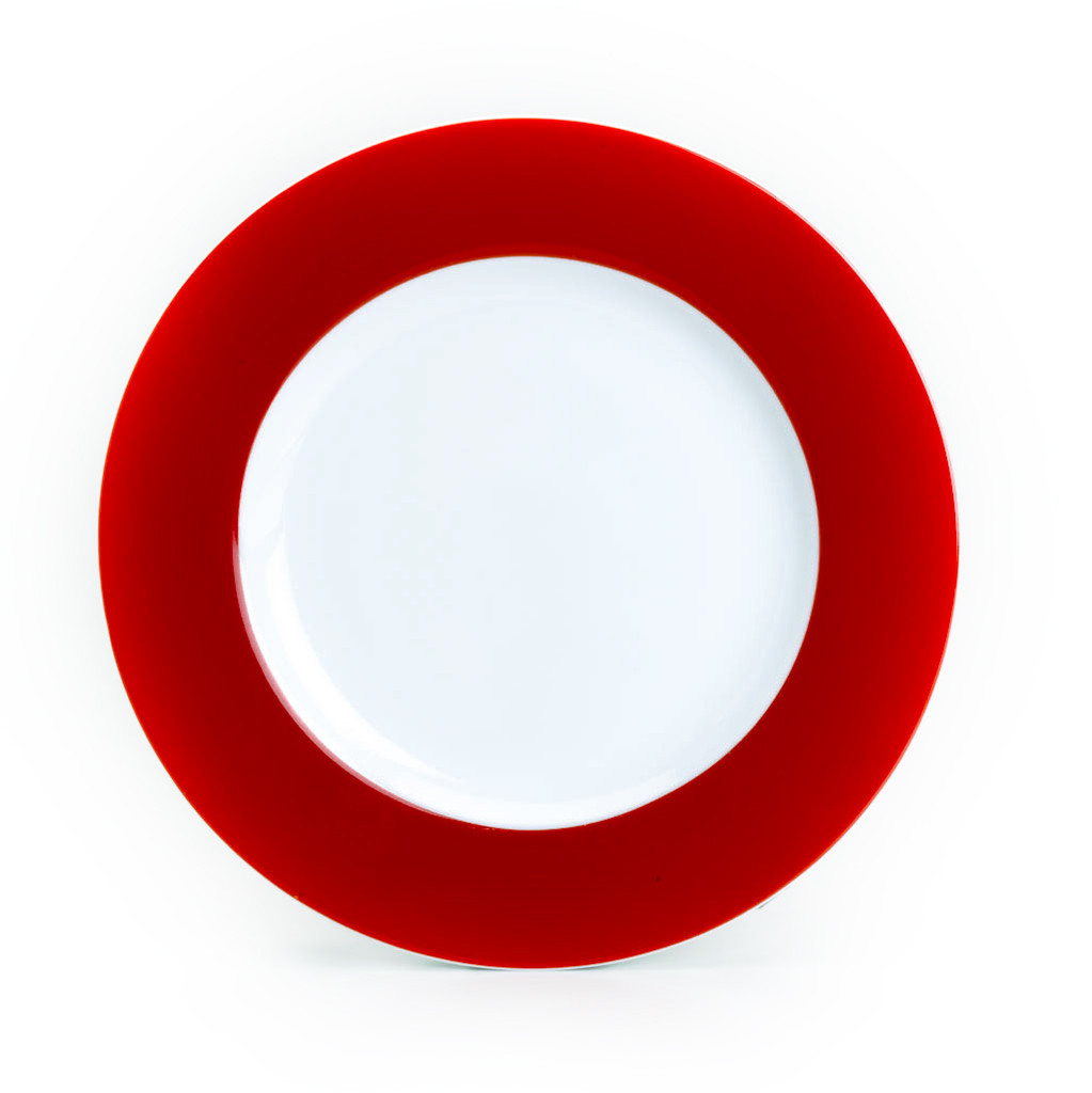 a dinner plate with a red rim and white center