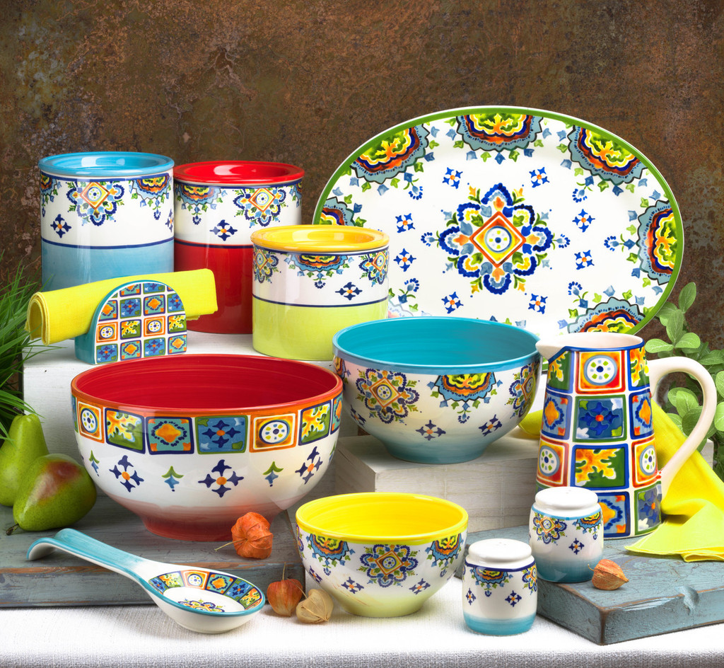 a range of accessories in the same colorful pattern of primarily red, blue, and yellow