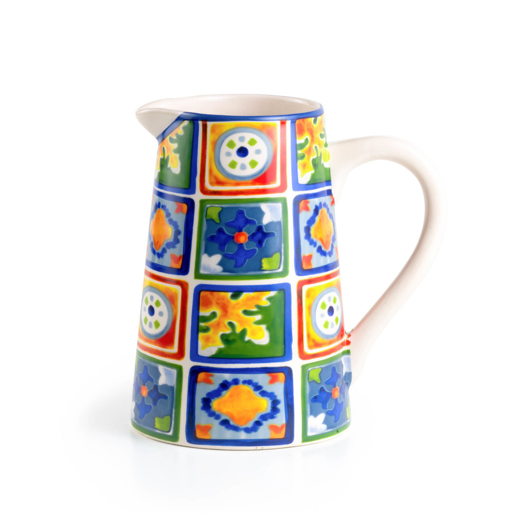 a straight pitcher featuring a colorful yellow, green, blue and orange design