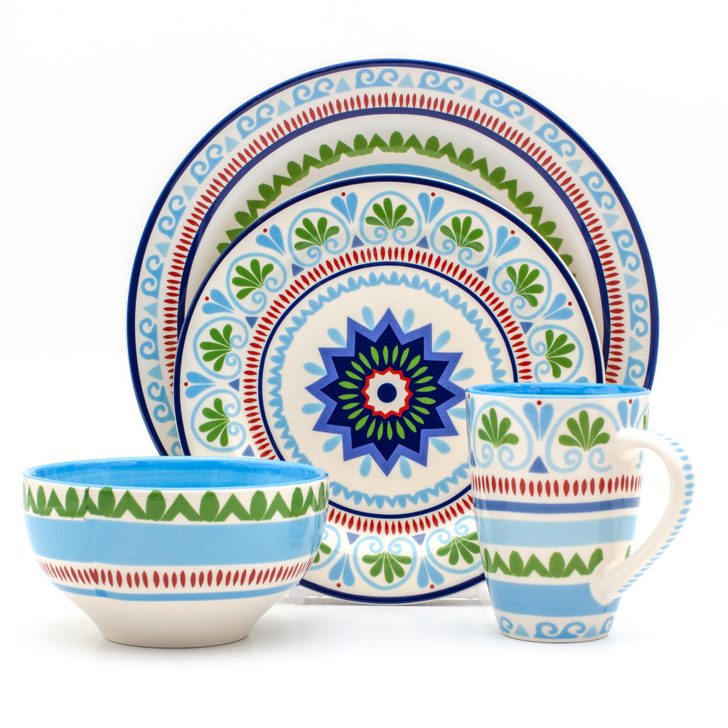 place setting of a dinnerware set with a blue and green design