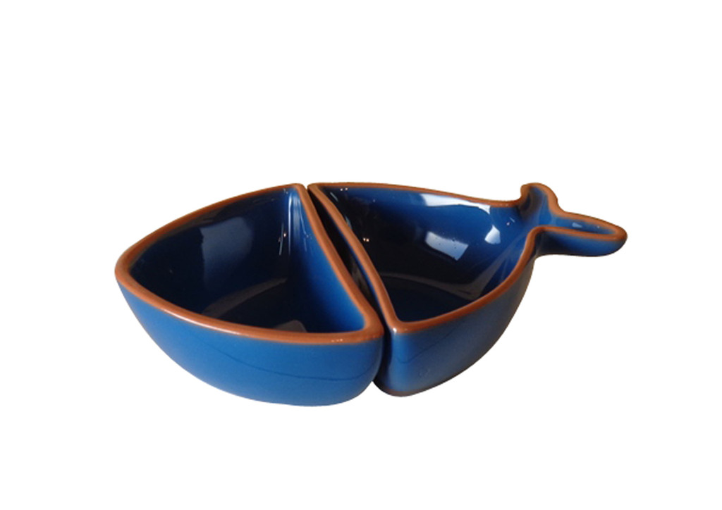 two piece fish shaped blue deep plate with terracotta rim