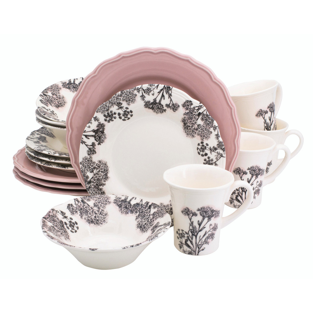 a 16 piece dinnerware set featuring pink dinner plates and grey silhouette floral designs on the bowl, mug and salad plate
