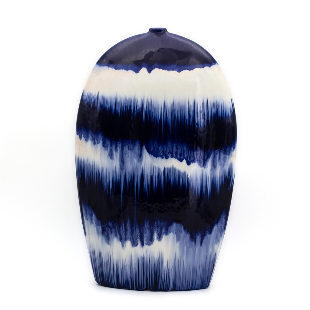 Blue and White Vase with Dripped Glaze Effect