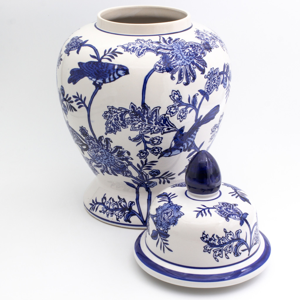 Chinese Style Ginger Jar with lid and floral bird design - lid removed to show hollow interior