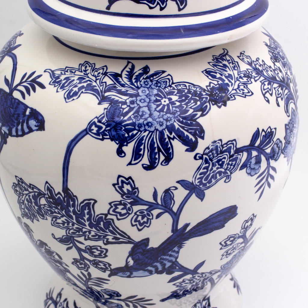 Detail shot of Chinese Style Ginger Jar with lid and floral bird design