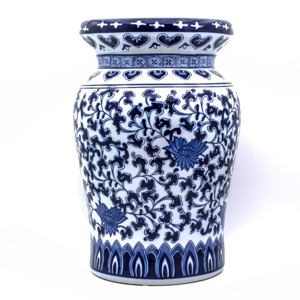 A traditional chinese garden stool with a blue and white lotus hand-painted design. The stool features a narrow neck and a flat podium platform at the top with a rounded body.