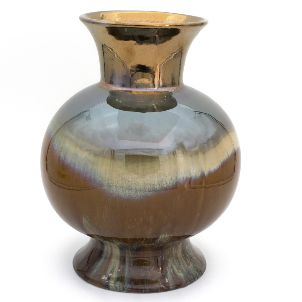 spherical vase with a wide lip and wide foot featuring various reactive brown glazes blending across the body, plus a coppery metallic finish on the lip