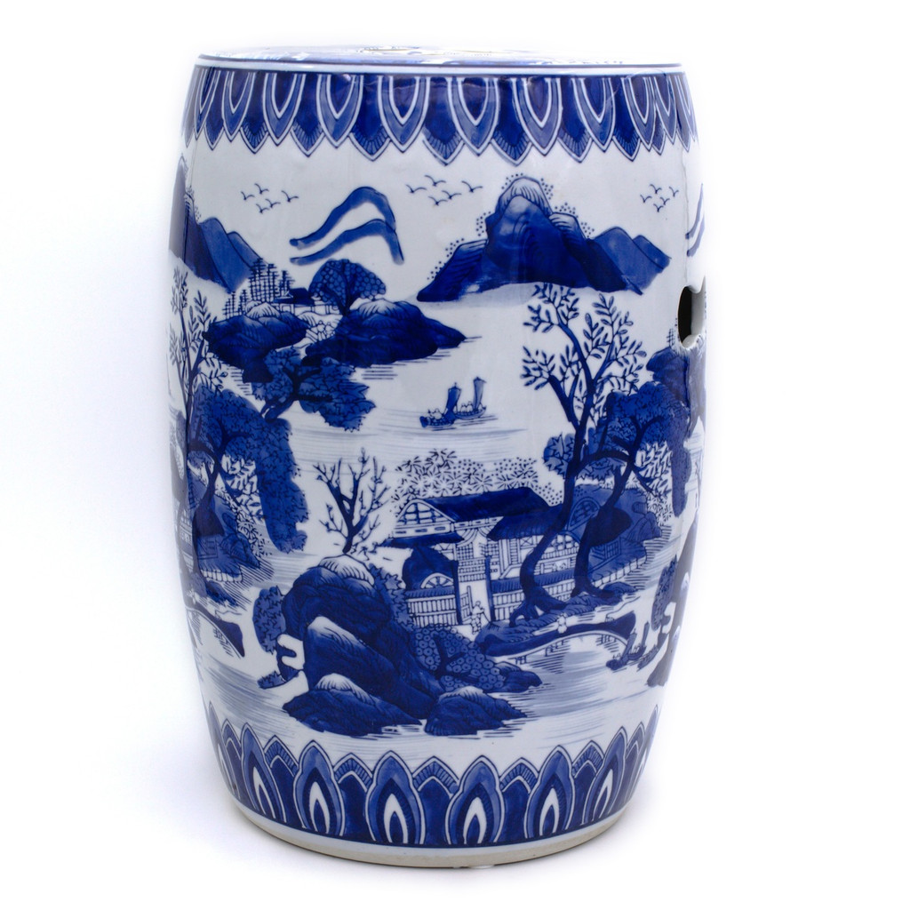 drum shaped blue and white hand-painted stool featuring a traditional chinese landscape painting and two cut-out handles