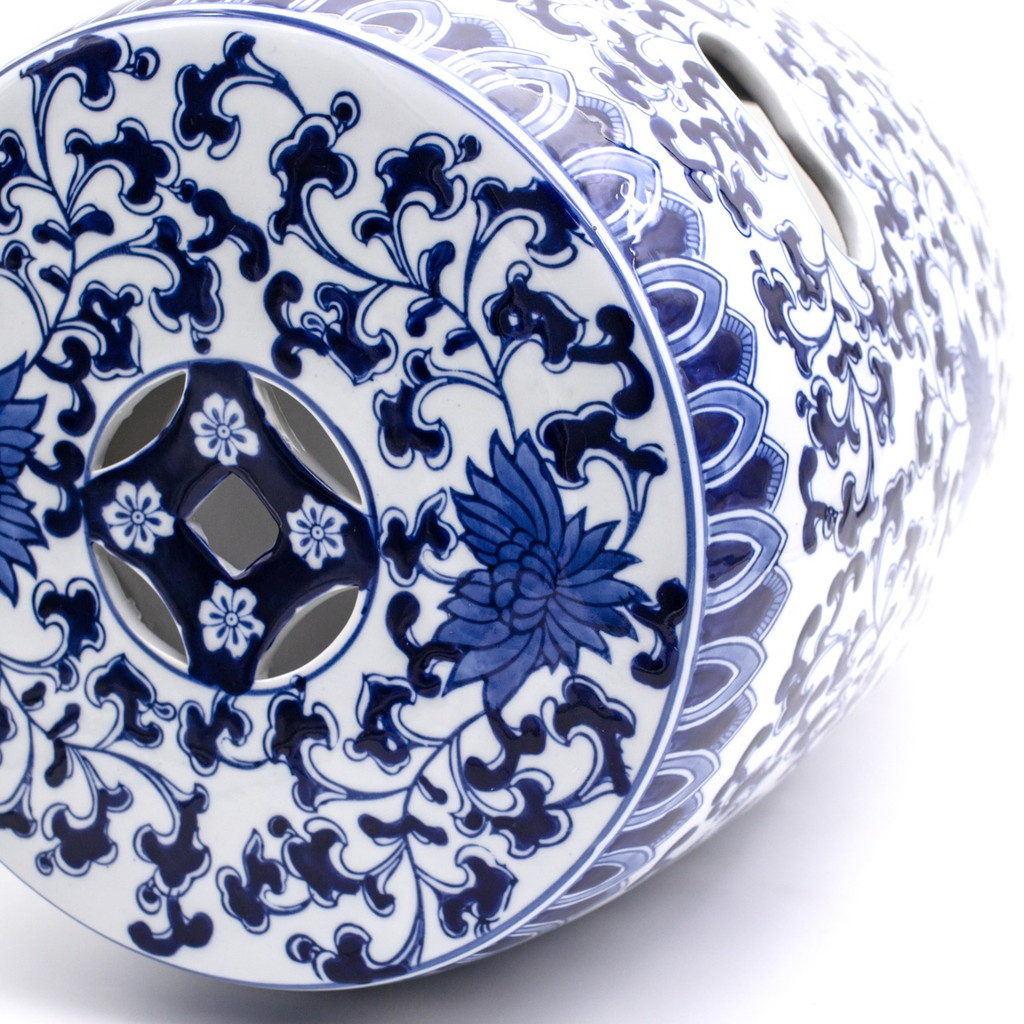 Blue Garden White Lotus Drum Stool
