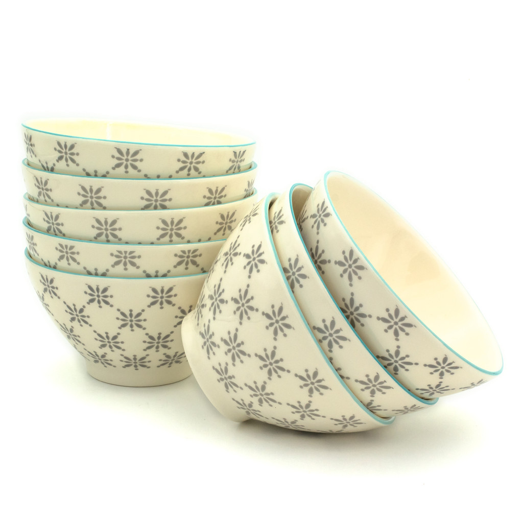 Sintra Hand-Stamped Dining Bowls, Set of 8