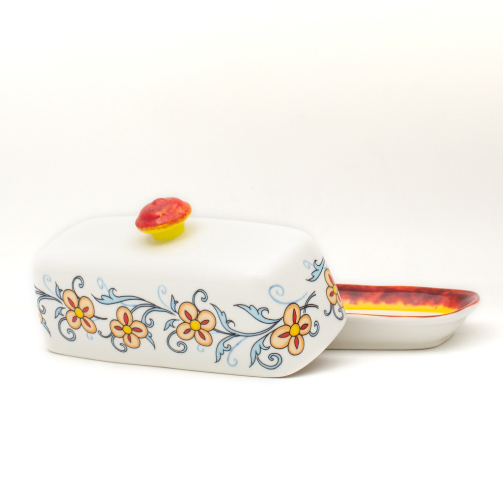 photo of butter with floral decal pattern