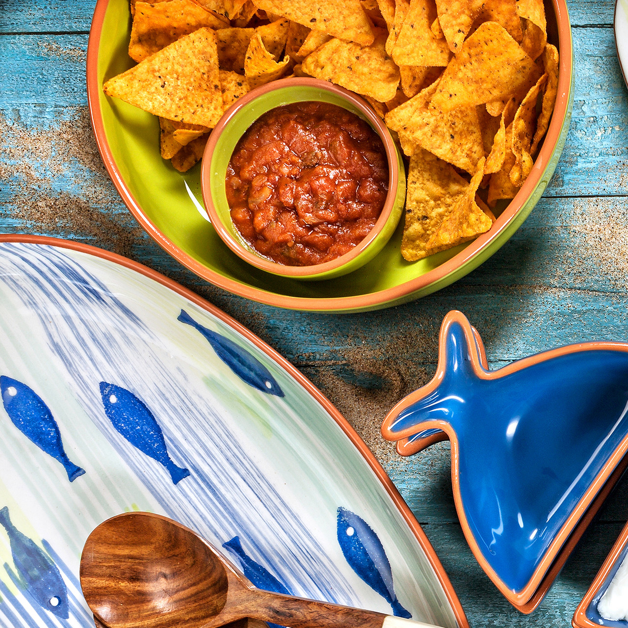 Pescador Chip And Dip Platter In Green