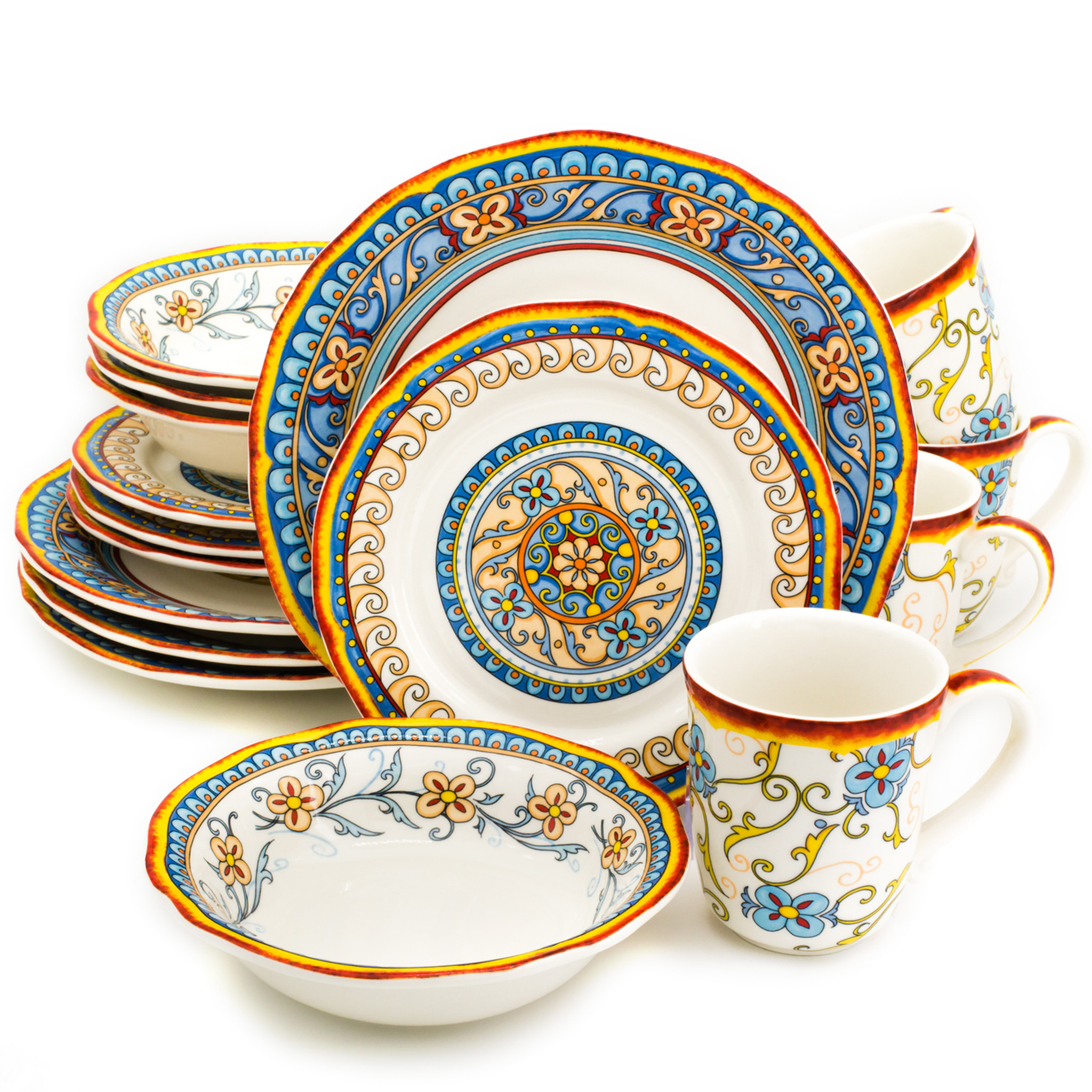 d8ee312a77b7 An ornately decorated 16 piece dinnerware set with scalloped edges and a  gold and turquoise floral