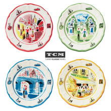 four salad plates in red, green, blue, and yellow, each featuring a different hand-painted scene