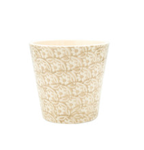 a planter with brown floral design and straight edges