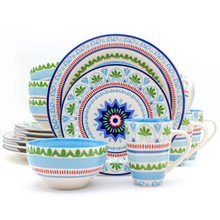 16 piece dinnerware set with a blue and green design