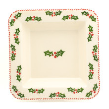 square platter with holly and berry pattern