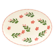 oval platter with holly and berry pattern