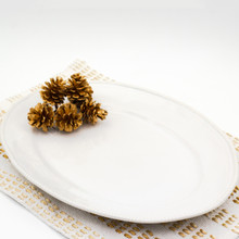 white oval platter with beaded accents around the rim with several pine cones resting on it and a white and gold place mat underneath