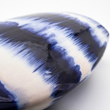 Detail view of Blue and White Vase with Dripped Glaze Effect
