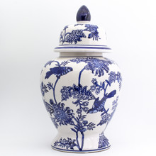 Chinese Style Ginger Jar with lid and floral bird design
