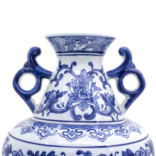 detail shot of Traditional chinese blue and white handled vase